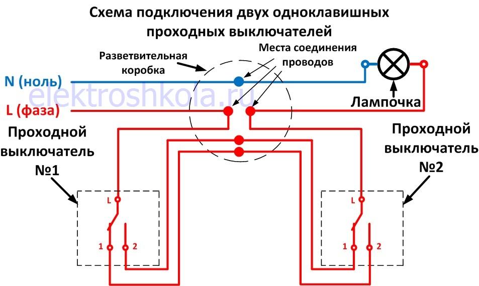содержит статьи, картинку схемы проходной выключатель ягненка